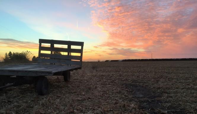 Hay rack sunset